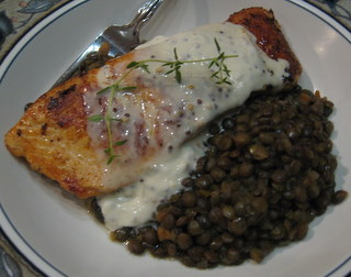 ... » Crispy Salmon with Lentils du Puy and Two-Mustard Creme Fraiche